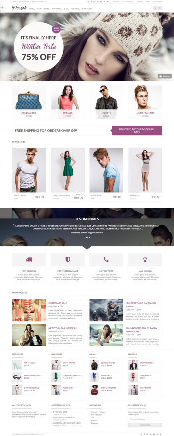 Mẫu web bán hàng thời trang Blas