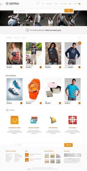Mẫu web bán quần áo Sistina