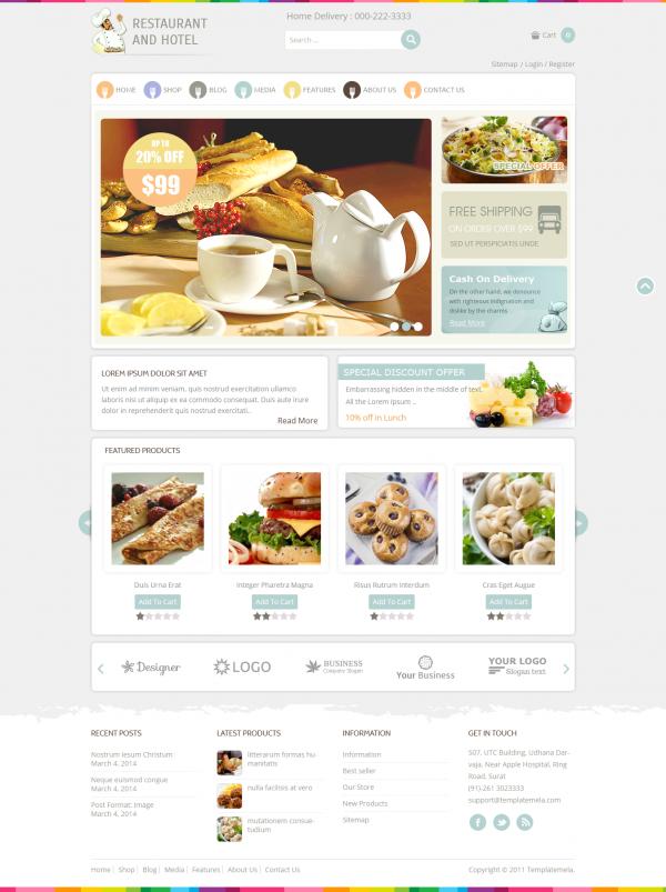 Mẫu thiết kế web ẩm thực Restaurant