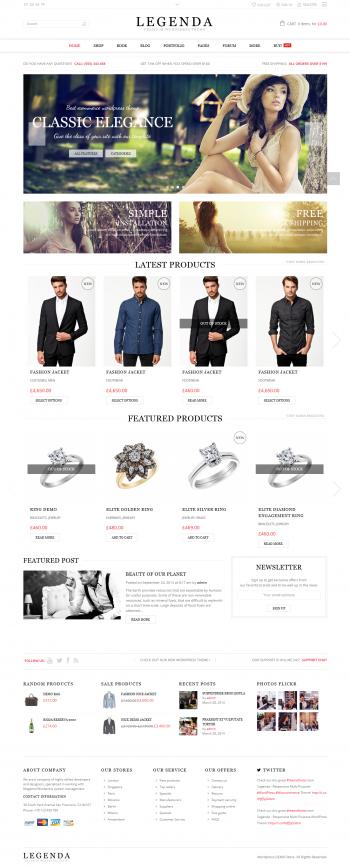 Thiết kế web cho cửa hàng thời trang Legenda