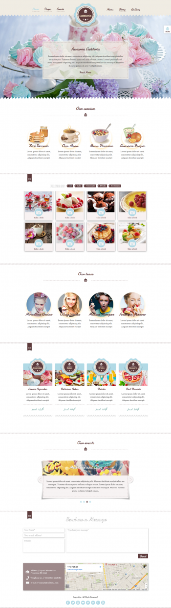 Thiết kế web cửa hàng Cafe kem Cafeteria