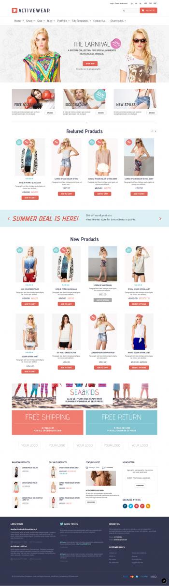 Mẫu web bán hàng thời trang đẹp Active