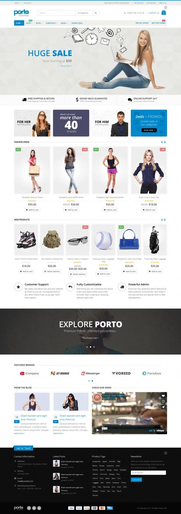 Mẫu web bán hàng thời trang cực đẹp Porto