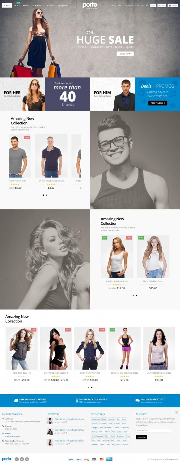 Mẫu web bán hàng thời trang full site Porto