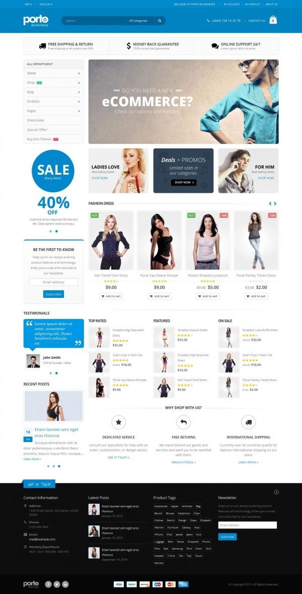 Mẫu web bán hàng thời trang chuyên nghiệp Porto