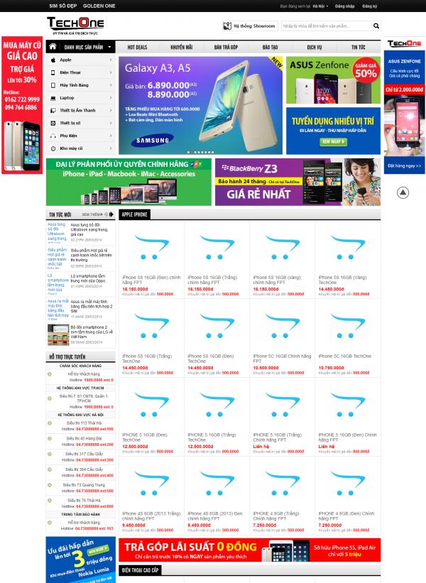 Mẫu web bán điện thoại chuyên nghiệp Techone