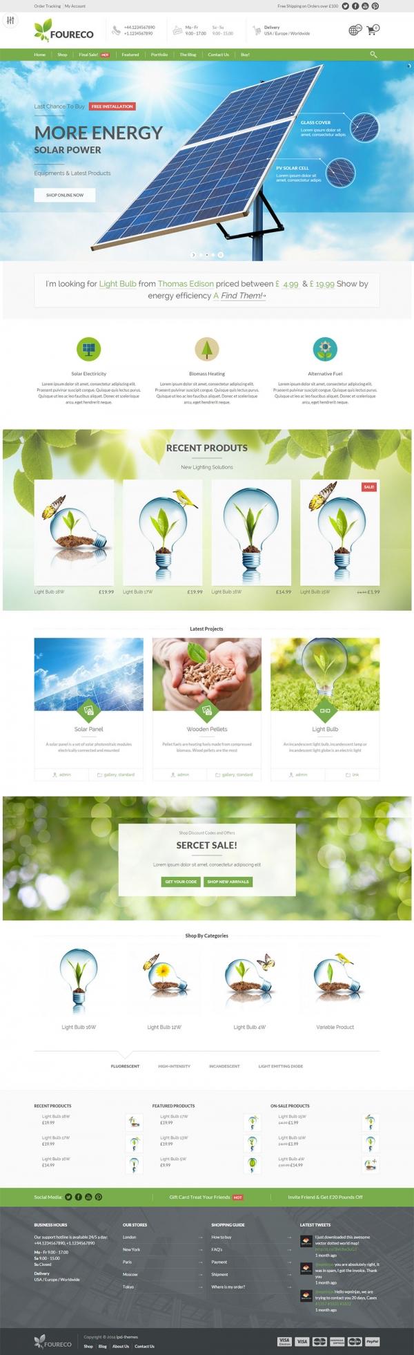 Mẫu web thiết bị năng lượng mặt trời Foureco