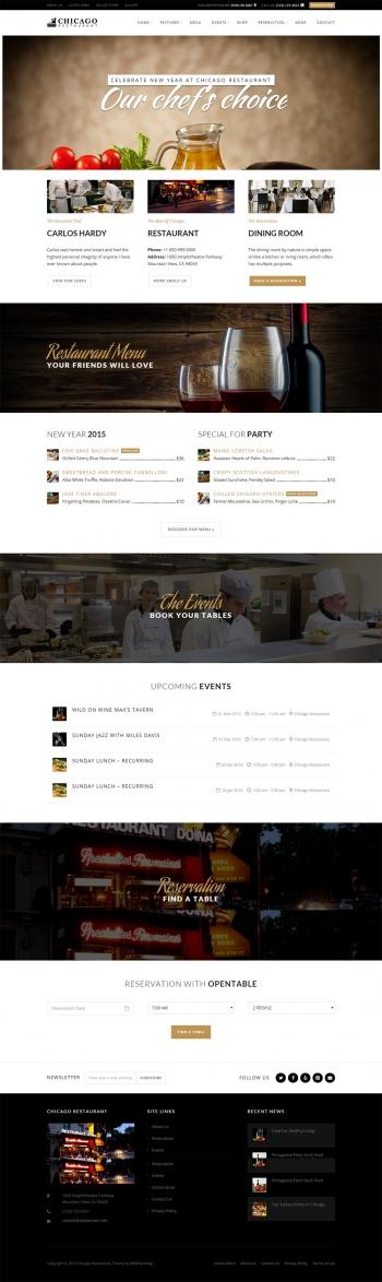 Mẫu website nhà hàng Chicago