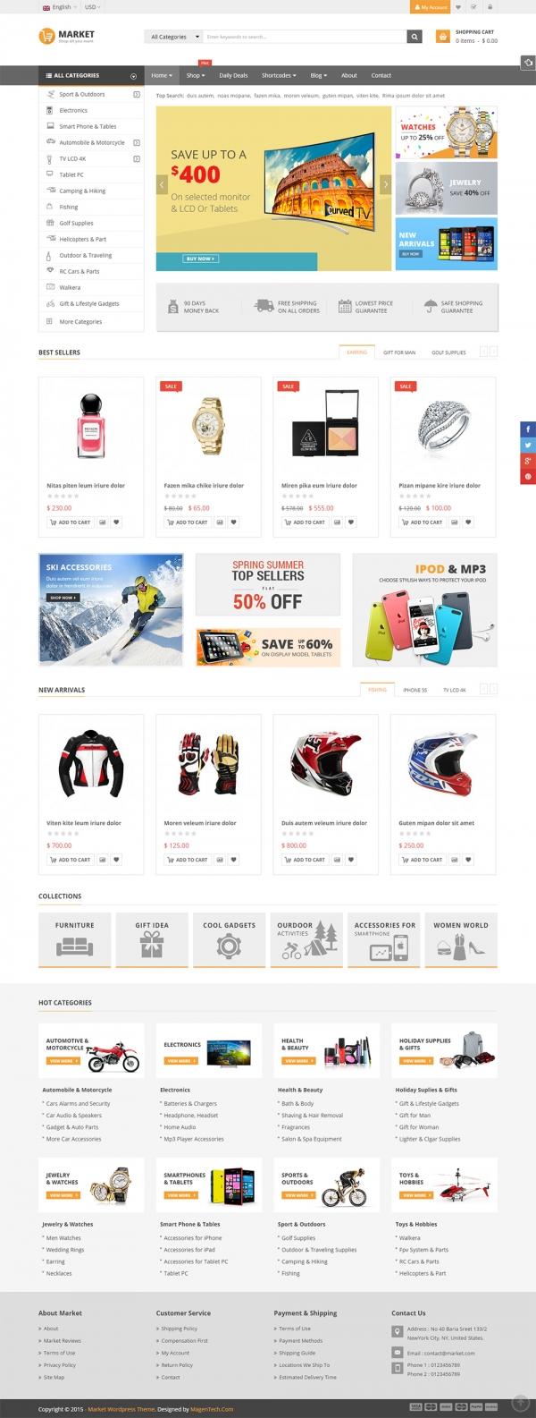 Mẫu web thương mại điện tử chuyên nghiệp Market