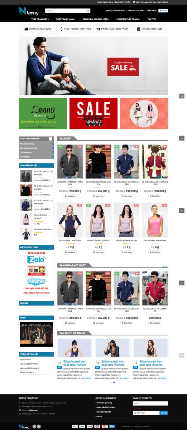 Thiết kế web bán hàng thời trang Lenny