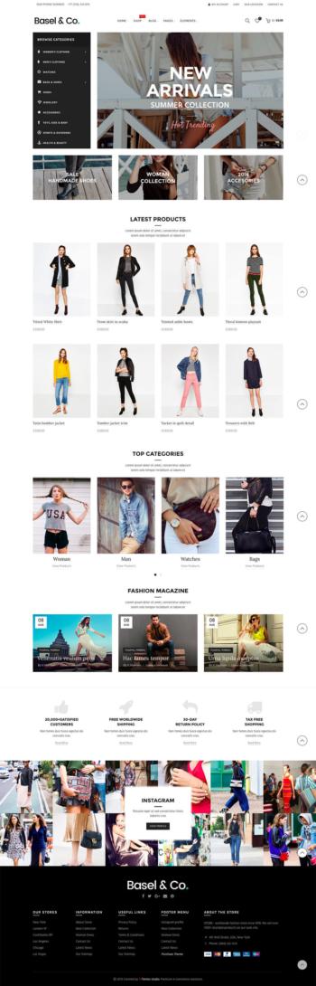 Website bán hàng thời trang Basel