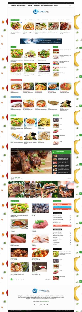 Thiết kế web tin tức thực phẩm