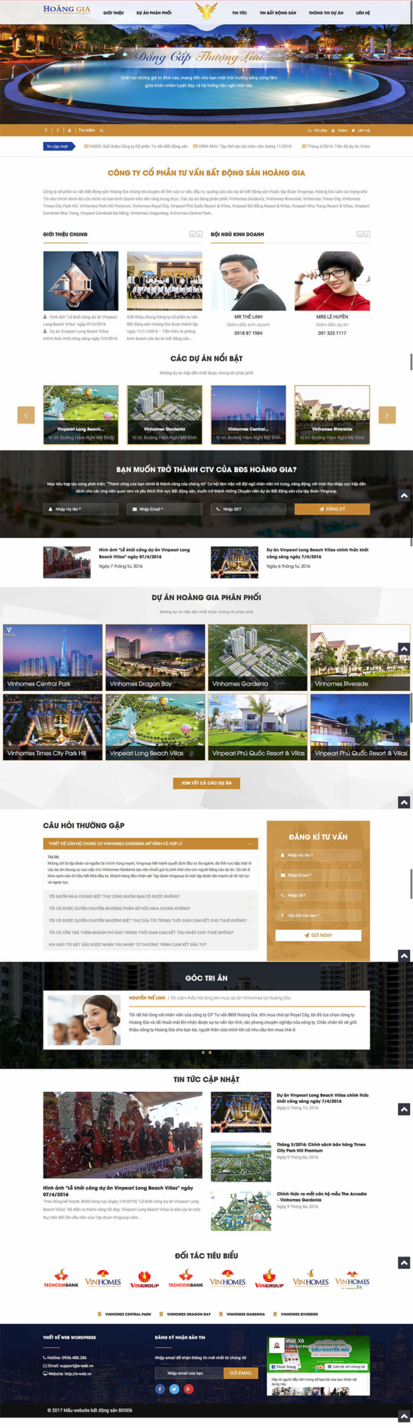 Mẫu web bất động sản Hoàng Gia