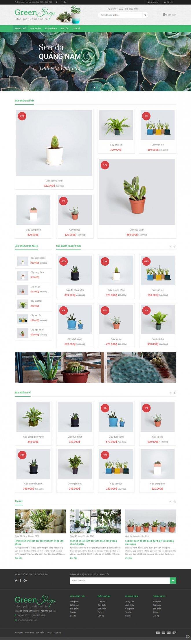 thiết kế web bán cây cảnh