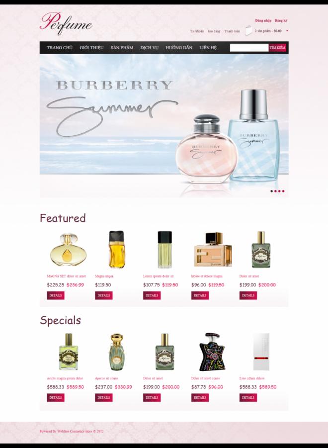 thiết kế web mỹ phẩm nước hoa