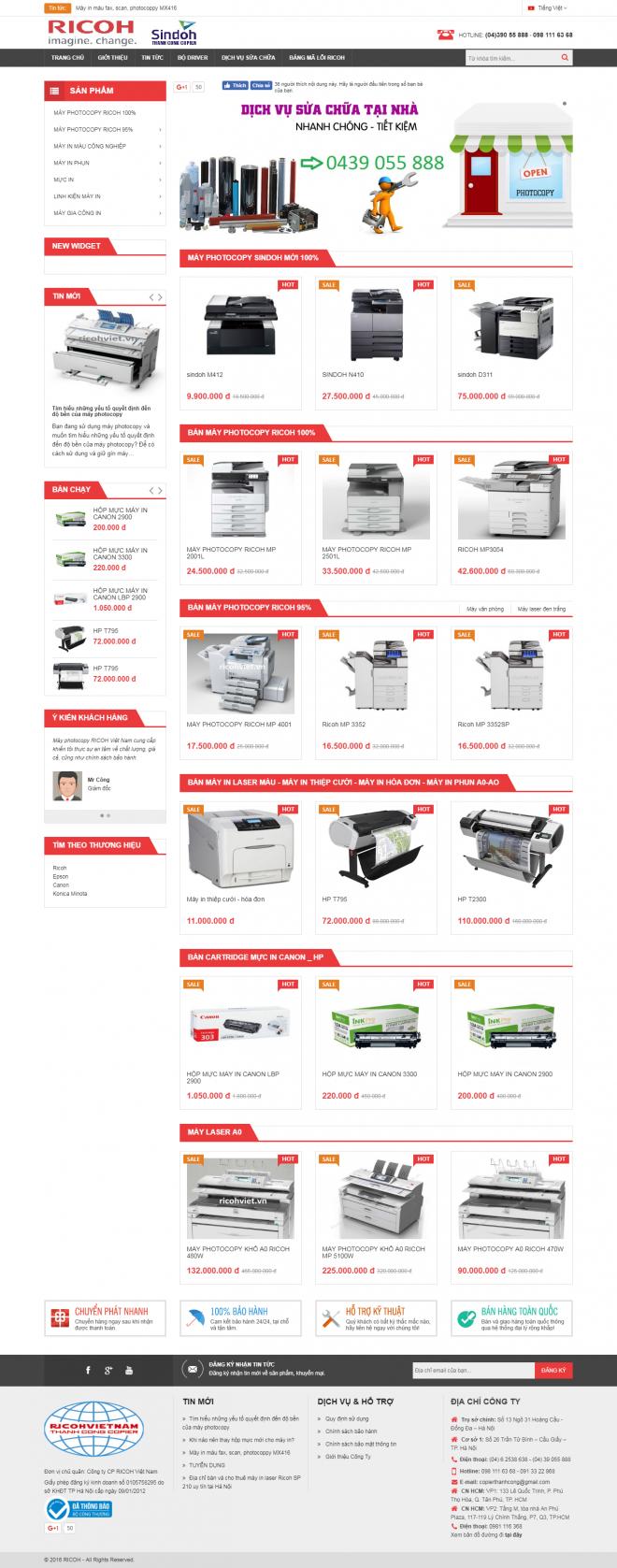 thiết kế web máy in máy photocopy