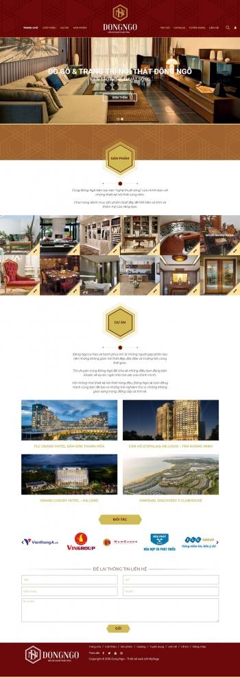 Mẫu website thiết kế nội thất Đông Ngô