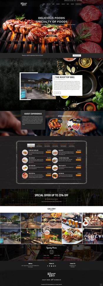 Mẫu website nhà hàng The Rooftop BBQ