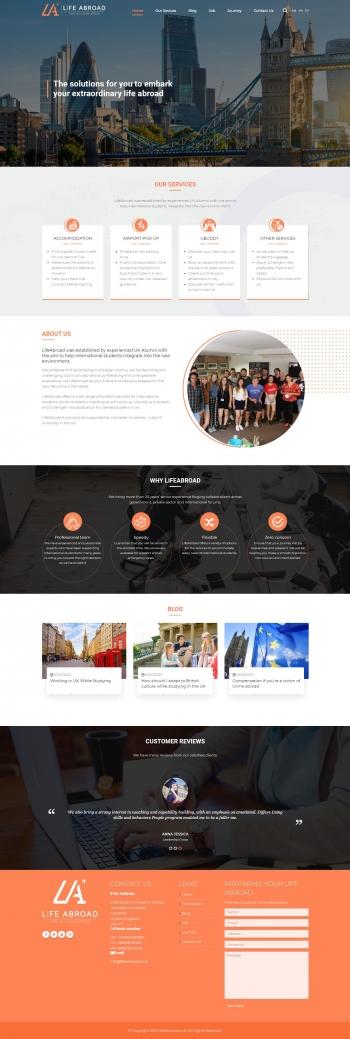 Mẫu website giáo dục chuyên nghiệp Life Abroad – Mypage