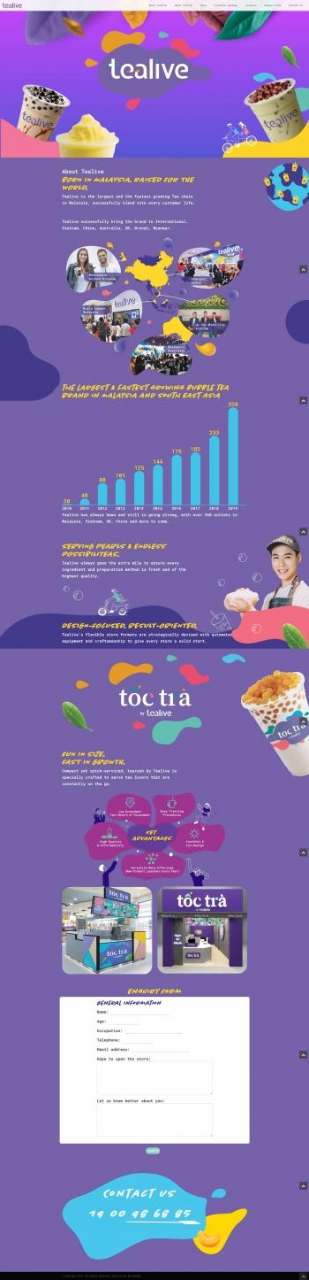 Mẫu Landing Page quảng cáo giới thiệu sản phẩm Tealive