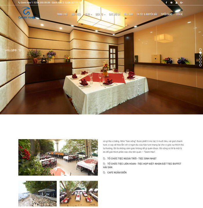 Thiết kế website nhà hàng Gành Hào