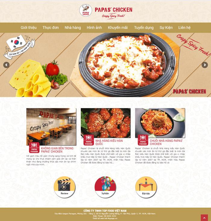 Thiết kế web nhà hàng papa chicken