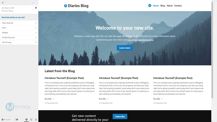 Tuỳ chọn thiết kế giao diện Website